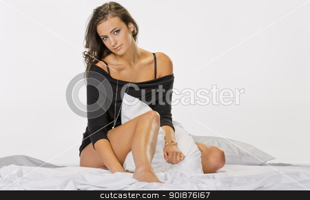 Brunette Model in Lingerie stock photo, Brunette model posing in lingerie in a studio environment by Walter Arce