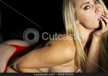 Blonde Model in Lingerie stock photo, Blonde model posing in lingerie with natural lighting by Walter Arce