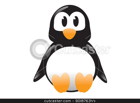Cute cartoon Penguin stock vector clipart, Cute cartoon vector penguin sitting down by William Robson