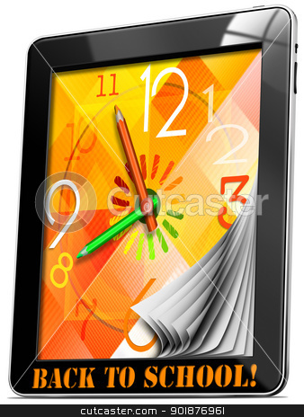 Back to School On Tablet PC stock photo, Colorful watch with hands, concept back to school on tablet pc!