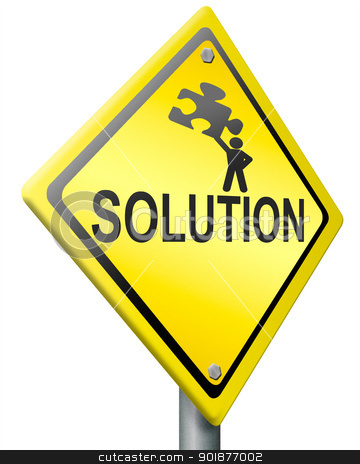 solution stock photo, solution, problem solving concept warning sign with text and figure holding jigsaw puzzle yellow road sign with text by Dirk Ercken