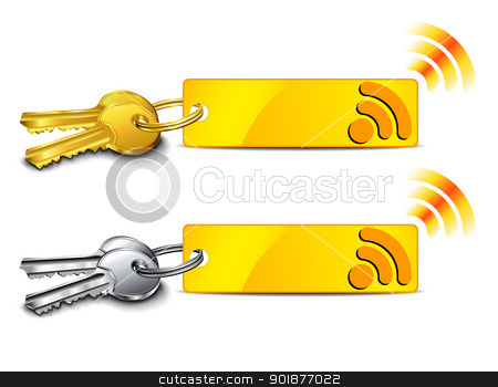 Internet connection key stock vector clipart, Connection key with internet signal icon by Fenton