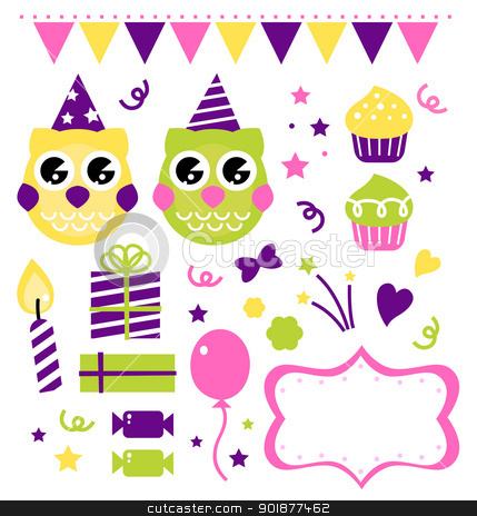Owl birthday party design elements isolated on white stock vector clipart, Owl set for your birthday party. Vector cartoon illustration by Jana Guothova