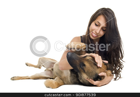 malinois and girl stock photo, young woman and her purebred belgian sheepdog malinois by Bonzami Emmanuelle