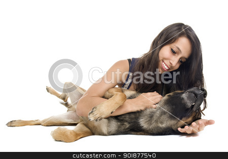 malinois and woman stock photo, young woman and her purebred belgian sheepdog malinois by Bonzami Emmanuelle