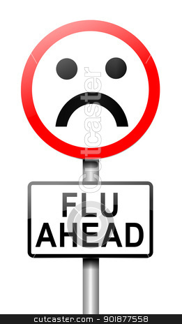 Flu alert concept. stock photo, Illustration depicting a roadsign with a flu concept. White background. by Samantha Craddock