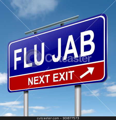 Flu alert concept. stock photo, Illustration depicting a roadsign with a flu jab concept. Blue sky background. by Samantha Craddock