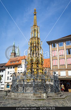 nuremberg fountain stock photo, An image of a nice fountain in Nuremberg Bavaria Germany by Markus Gann