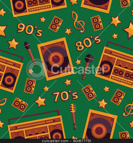 Music elements set stock vector clipart, Retro music elements seamless pattern, vector, format eps10 by Alex Gontar