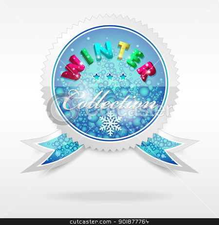 Vector Badge. Winter collection stock vector clipart, Vector realistic cool badge, winter collection, format eps10 by Alex Gontar