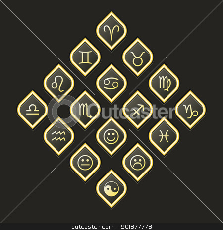 Vector web button pack. Zodiac Gold stock vector clipart, Vector web button pack, esoteric topics, dark and gold tone, format eps10 by Alex Gontar