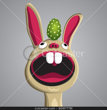 Funny Bunny. Vector stock vector clipart, Easter funny bunny with egg on his head, vector, format eps10 by Alex Gontar