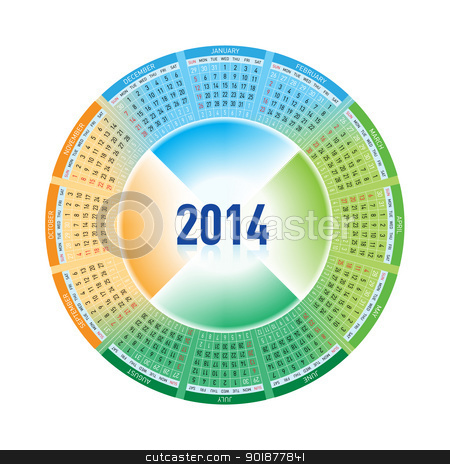 2014 Calendar stock photo, Calendar for Twenty-fourteen. Rotating design on white by dvarg