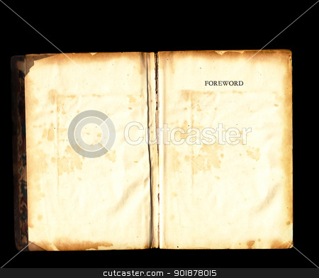 Old vintage book open blank pages black background stock photo, Old tattered vintage book damaged torn open blank pages over black background by sherjaca