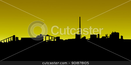 Mining Industry Golden Sunrise Sunset Silhouette stock photo, Mining Industry Horizon Golden Sunrise Sunset Silhouette Isolation by Snap2Art