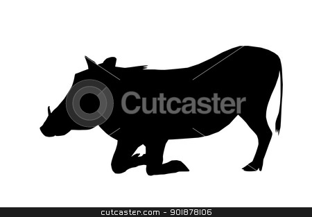 Isolated Silhouette Warthog on Knees stock vector clipart, Isolated Silhouette Warthog Busy Eating on Knees by Snap2Art