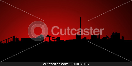 Mining Industry Sunrise Sunset Silhouette stock photo, Mining Industry Horizon Sunrise Sunset Silhouette Isolation by Snap2Art