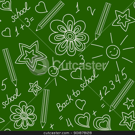 Back to school chalk-drawn seamless pattern stock vector clipart, Back to school. Chalk-drawn seamless pattern on a green blackboard by Allaya