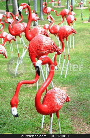  flamingos statue stock photo, Red flamingos statue in park by kongsky
