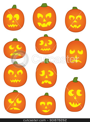 Eleven Pumpkin Faces stock vector clipart, Eleven Jack o' Lantern Pumpkins with funny and mean facial expressions. by Jamie Slavy