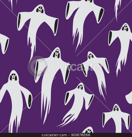 Seamless Wight Pattern stock vector clipart, A seamless pattern of ghosts floating through the air. by Jamie Slavy