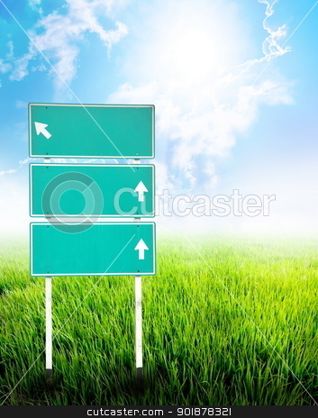 Green empty guidepost stock photo, An image of green empty guidepost with nature background.  by kongsky