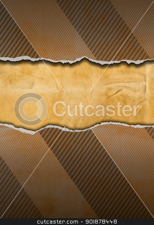 Vintage Ripped Cardboard stock photo, Cracked cardboard vintage background with space for message  by catalby
