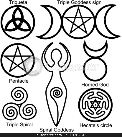 Set of the Wiccan symbols stock vector clipart, Set of the Wiccan symbols: Triqueta, or Celtic Knot, symbol of Triple Goddess, Pentacle, Spiral Goddess, Horned God, Triple Spiral of Goddess and Hecates circle by Viacheslav Belyaev