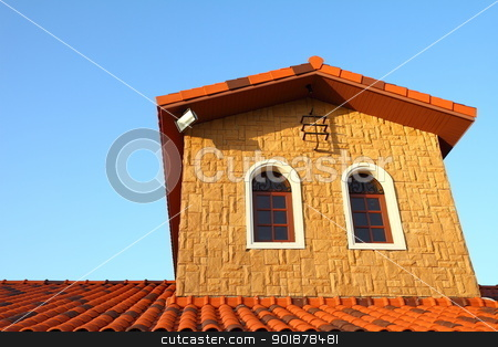 Italian building style  stock photo, Italian building style on blue sky  by kongsky