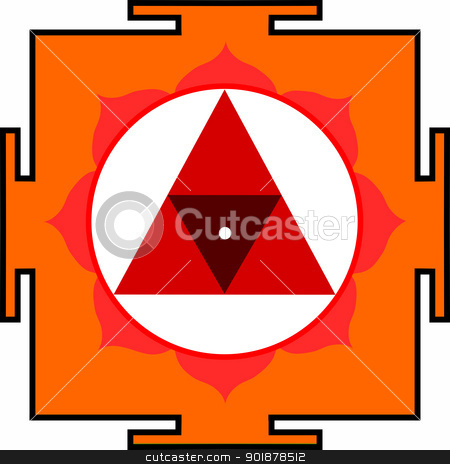 Shri Chinnamasta-Yantra stock vector clipart, Sacred Yantra of Goddess Chinnamasta by Viacheslav Belyaev