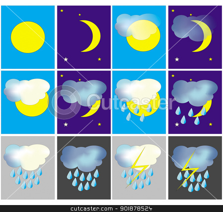 Weather icons stock vector clipart, Set of the weather icons - sunny, cloudy etc by Viacheslav Belyaev