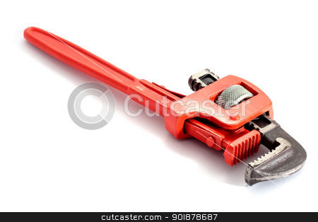 Spanner wrench plumbing stock photo, adjustable spanner colored red for plumbing isolated on fund in horizontal by croreja