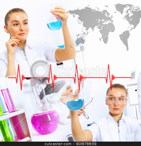 Collage with scientist in laboratory stock photo, Collage with scientists working with liquids at laboratory  by Sergey Nivens