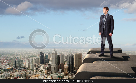 Businessman and cityscape stock photo, Business man standing high over a cityscape  by Sergey Nivens