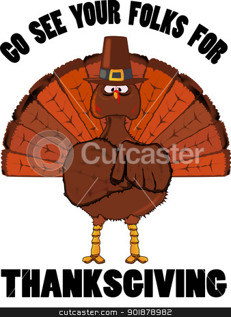 The Turkey Message. stock vector clipart, A message from a Thanksgiving turkey,