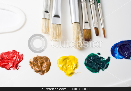 Artist tools stock photo, Artists paint brushes and paints by Alexey Popov