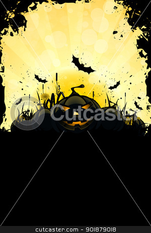 Grungy Halloween Background with Pumpkins stock vector clipart, Grungy Halloween Background with Pumpkins, Bats, Grass and Full Moon by Vadym Nechyporenko