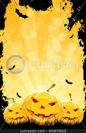 Grungy Halloween Background with Pumpkins stock vector clipart, Grungy Halloween Party Background with Pumpkins and Bats by Vadym Nechyporenko
