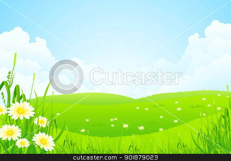 Green Nature Landscape stock vector clipart, Green Nature Landscape with Flowers and Clouds by Vadym Nechyporenko