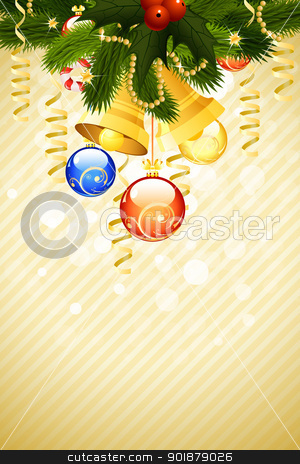 Christmas Template stock vector clipart, Christmas Card Template with fir-tree mistletoe decoration and bells by Vadym Nechyporenko