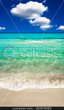 Perfect beach stock photo, Clear sea and sandy beach by Alexey Popov