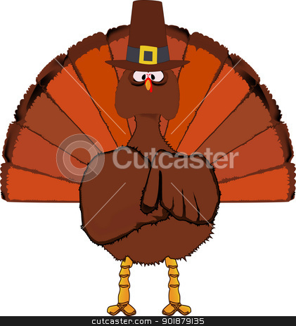 Thanksgiving Turkey stock vector clipart, The traditional Thanksgiving turkey complete with a pilgrim hat. by Kotto