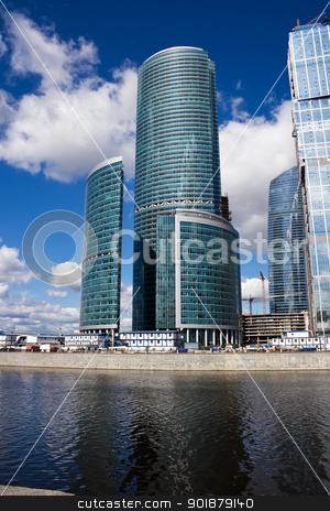Skyscrapers stock photo, Modern skyscrapers under the sky by Alexey Popov