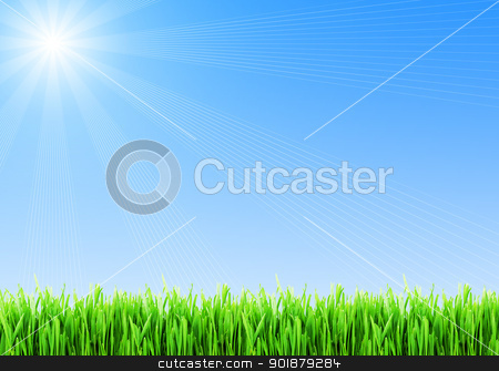 Spring background stock photo, Fresh green grass under blue sky by Alexey Popov