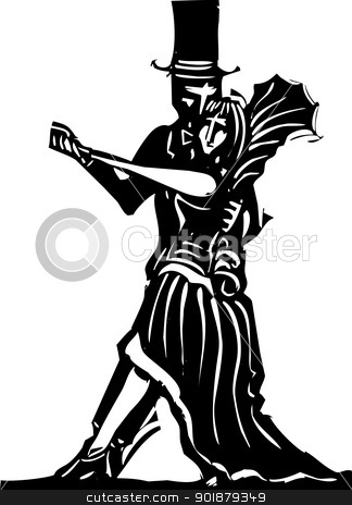 Gothic Couple Dancing Simple stock vector clipart, Goth couple in fancy dress dancing a tango. by Jeffrey Thompson