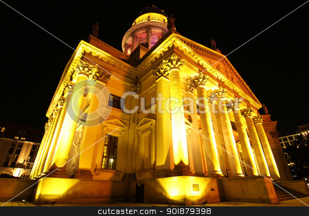 The Deutscher Dom in Berlin stock photo, Night shot of the Deutscher Dom (Cathedral of Germany) in Berlin, Germany. by Michael Osterrieder