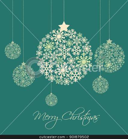 Christmas ball stock vector clipart, Christmas balls made from snowflakes vector illustration by Miroslava Hlavacova