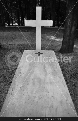 charnel ground stock photo, Cross and marble grave tombstone among trees. by sirylok