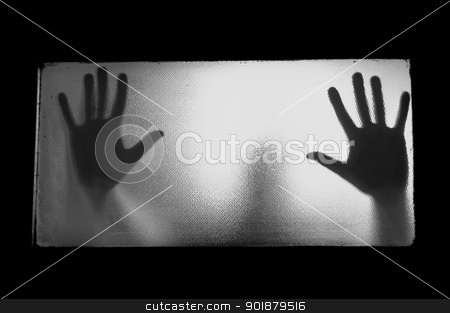 man behind glass stock photo, Spooky man behind glass. Hands and blurry human figure abstraction. by sirylok