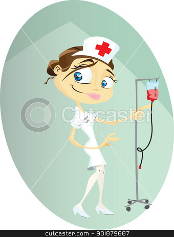 Nurse stock vector clipart, A cartoon nurse busy doing her rounds at the hospital. Illustrator .eps v10. Contains transparency some effects. by mojojojo